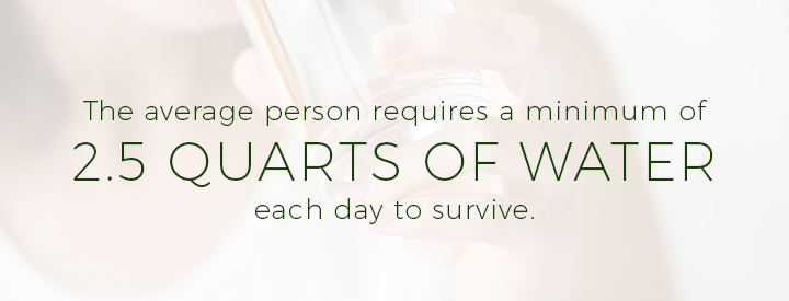 The average person requires a minimum of 2.5 quarts of water each day to survive